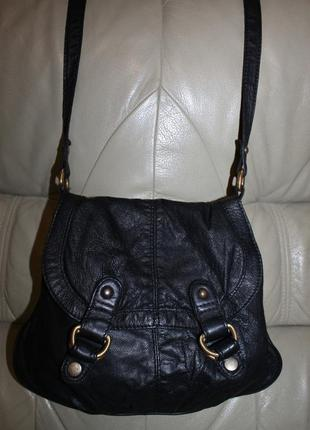 Фирменная сумка через плечо из натуральной кожи бренда warehouse