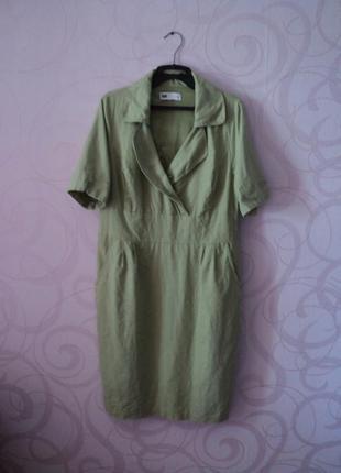 Зеленое платье из льна, большой размер, льняное платье в офис, офисное платье