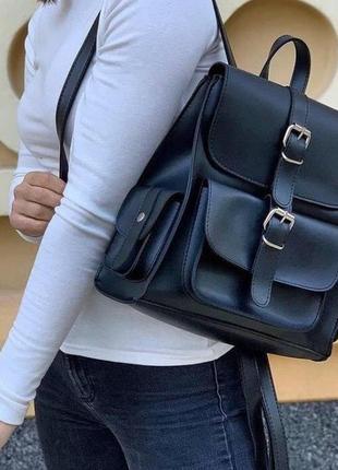 Женский рюкзак кожзам вместительный чёрный