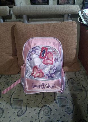 Новый,с бирками,розовый  рюкзак-ранец с бабочками-пайетками sweet girl