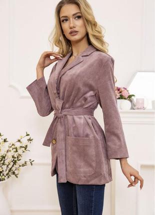 Стильный пиджак жакет под пояс удлинённый s m l
