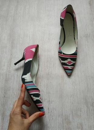 Casadei, текстильные кожаные туфли на шпильке, лодочки