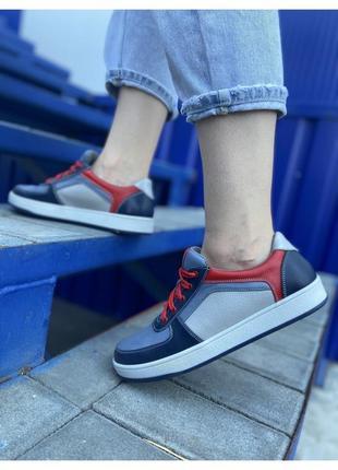 Кожаные женские кроссовки разноцветные кеды стильные натуральная кожа