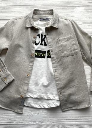 Рубашка на мальчика модного песочного цвета