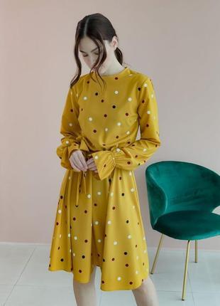 Платье горчица в горошек