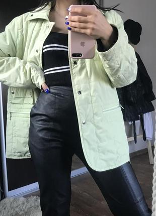 Стёганая куртка рубашка мятного цвета, двусторонняя куртка
