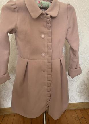 Шикарное кашемировое пальто на девочку