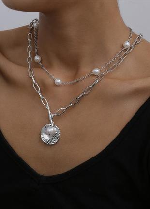 Цепочка цепь колье ожерелье две цепочки под серебро кулон с иск.жемчугом