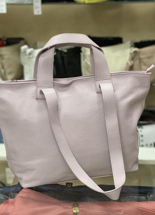 Светлая сиреневая сумка мягкая кожаная сумка большая сумка шкіряна сумка літня