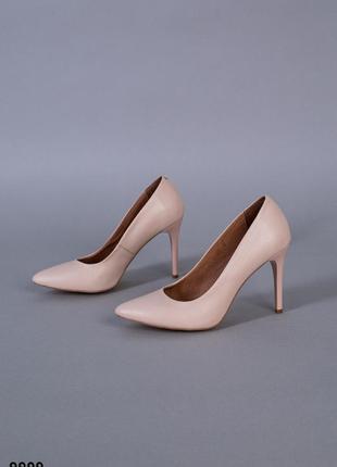 Лодочки женские кожаные цвет пудра каблук 9 см