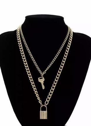 Цепочка массивная цепь крупная колье ожерелье ключ замок
