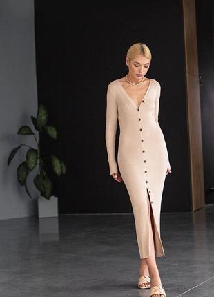 Элегантное облегающее платье-кардиган макси длины