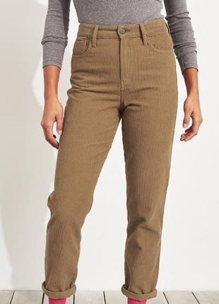 Вельветові джинси мом в крупний рубчик hollister s