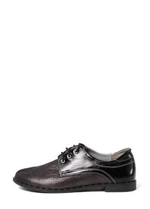 Кожаные женские стильные туфли дерби на шнуровке низкий каблук натуральная кожа