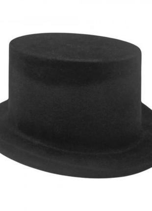 Шляпа циллиндр флок черная