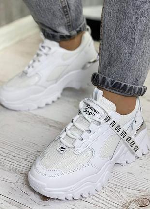 Кроссовки белые, эко-кожа, весенние