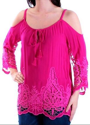 """Блуза """"бохо"""" с открытыми плечами и вышивкой ришелье размер l"""