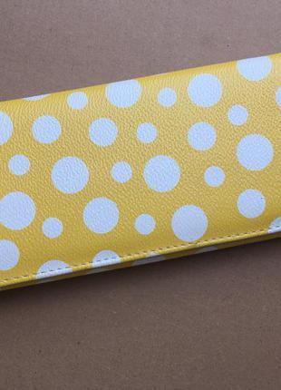Новый желтый кошелек в горошек