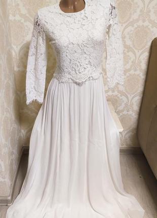 Шикарное белое платье,выпускное,нарядное