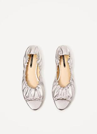 Новые, кожаные балетки zara c открытым носком