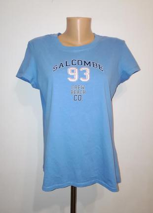 Хлопковая голубая футболка с принтом, xxl