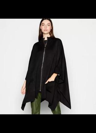 Стильная черная накидка кардиган пончо на молнии с карманами от principles