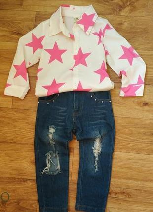 Костюм на девочку 1,5 - 3 года. джинсы и рубашка.  двойка на девочку 2-3 года