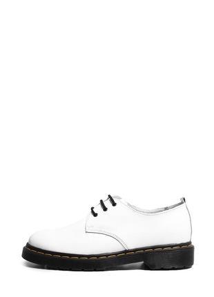 Кожаные женские белые туфли дерби на шнуровке низкий каблук натуральная кожа