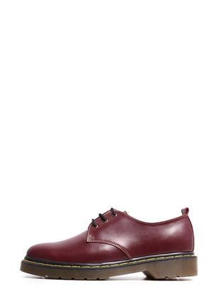 Кожаные женские бордовые туфли дерби на шнуровке низкий каблук натуральная кожа