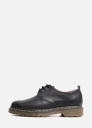 Кожаные женские черные туфли дерби на шнуровке низкий каблук натуральная кожа