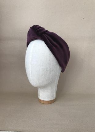 Бархатная/плюшевая повязка на голову с узелком в сливовом цвете