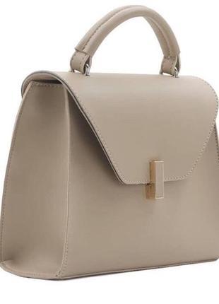 Бежевая женская сумка кросс боди кожзам с длинным ремешком