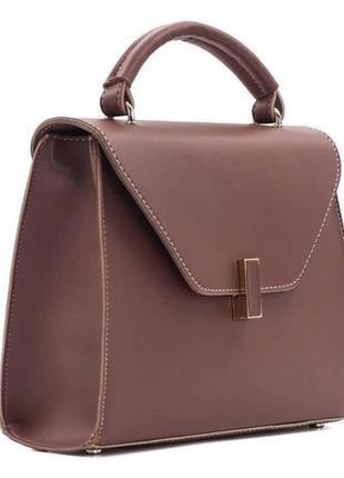 Женская сумка кросс боди кожзам с длинным ремешком темная пудра