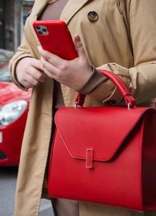 Красная женская сумка кросс боди кожзам с длинным ремешком