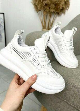 Кроссовки перфорация натуральная кожа белые кроссы весенние в наличии