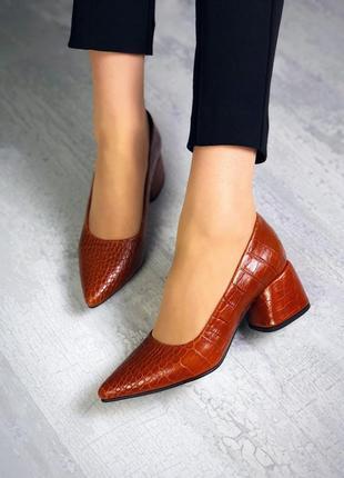 36-40 рр туфли женские на невысоком каблуке цвет рыжий рептилия очень стильные