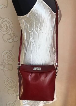 Сочная кожаная сумка, натуральная глянцевая кожа италия кросс боди