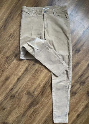 Бежевые штаны велюровые mango брюки
