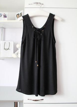 Черная блузочка с трендовыми завязками от george