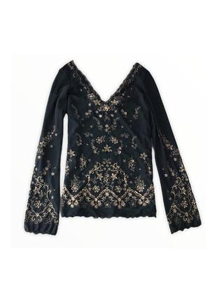 Шикарная блуза на плечики рукав клёш винтаж нежная