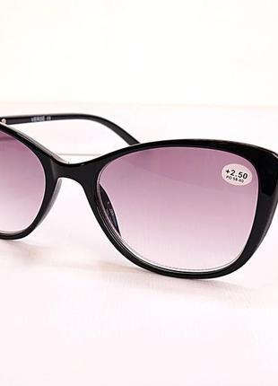 Очки женские для зрения  19123, с диоптриями, корригирующие с тонирован. линзой +2,50