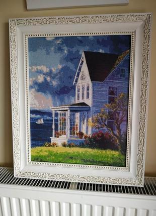 Картина вышивка крестом, оформлены в багеты и антиблик стекло, замеры