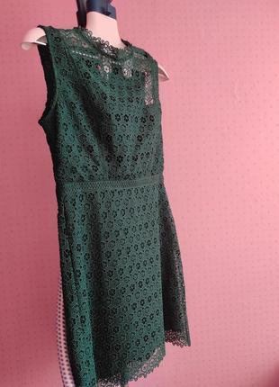 Платье mango, гипюр на шелковом подкладе, размер м