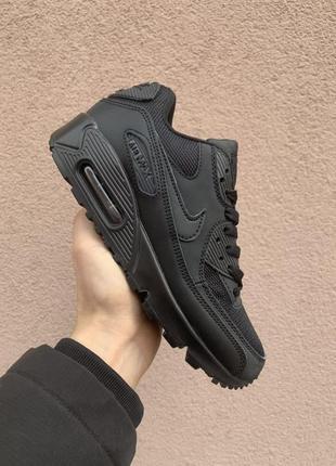 Nike air max 90 black женские кожаные кроссовки черного цвета