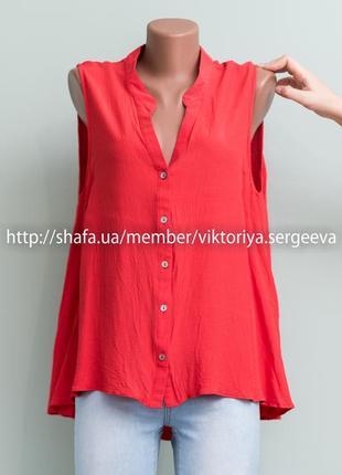 Новая с бирками коралловая красивая вискозная блуза дорогого бренда