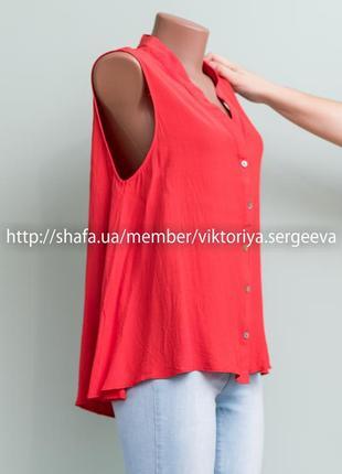 Новая с бирками коралловая красивая вискозная блуза дорогого бренда2 фото
