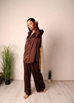 Пижама свободного кроя рубашка штаны костюм