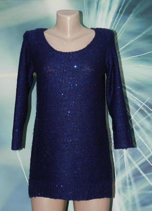 Удлиненный свитер, туника в пайетки от f&f
