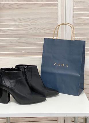 Кожаные ботинки весна-осень zara шкіряні ботінки