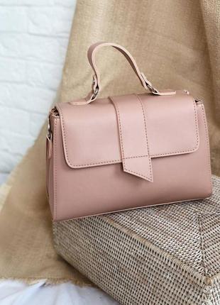 Пудровая/персиковая винтажная сумка-кроссбоди с короткими ручками и длинным ремешком